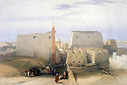 Grand Entrance to the Temple of Luxor' ; lithograph after watercolour by David Roberts (1796-1864) Scottish artist. Ancient Egypt Archaeology Building Architecture