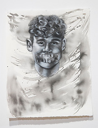 April 26, 2018 - Tampa, Florida, U.S. - A charcoal portrait of Parkland victim Luke Hoyer, by Symone Hall in the BFA show at the Scarfone/Hartley Gallery at the University of Tampa, on April 26, 2018 in Tampa, Fla. (Credit Image: © Monica Herndon/Tampa Bay Times via ZUMA Wire)