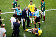 Neymar of Brazil reacts after being hurt during the 2018 FIFA World Cup Russia, round of 16 football match between Brazil and Mexico on July 2, 2018 at Samara Arena in Samara, Russia - Photo Tarso Sarraf / FramePhoto / ProSportsImages / DPPI