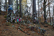 A traditional Clootie Well on the 5th November 2018 in Munlochy, Scotland in the United Kingdom. Clootie wells are places of pilgrimage in Celtic areas. They are wells or springs, almost always with a tree growing beside them, where strips of cloth or rags have been left, usually tied to the branches of the tree as part of a healing ritual.