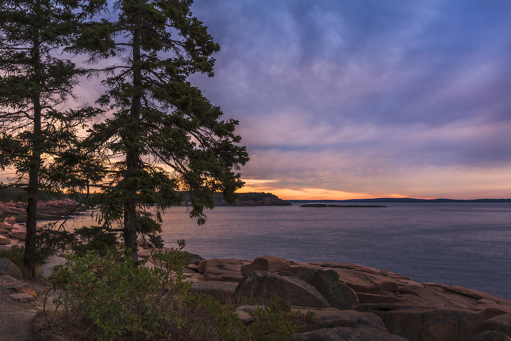 Early morning on the granite cliffs of Acadia National Park never fails to inspire.