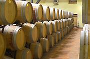 Oak barrel aging and fermentation cellar. Chateau Reignac, Bordeaux, France