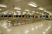 Empty seats on a Washington State Ferry running at night between Seattle and Bremerton, WA, USA