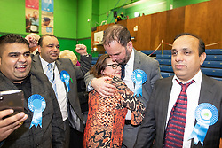 © Licensed to London News Pictures . 13/12/2019. Bury, UK. JAMES DALY (c) cries with his wife JOANNE DALY as conservatives celebrate their narrow win in the Bury North count after Labour candidate James Frith conceded to James Daly following a recount , at the count for seats in the constituencies of Bury North and Bury South in the 2019 UK General Election , at Castle Leisure Centre in Bury . Photo credit: Joel Goodman/LNP