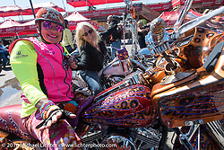 Diva Amy Skaling on her bedazzled bagger beside Cat Hammes, the One Legged Blonde, the Iron Horse Saloon after the Harley-Davidson Angels Ride to benefit the Nature Conservancy during the annual Sturgis Black Hills Motorcycle Rally.  SD, USA.  August 12, 2016.  Photography ©2016 Michael Lichter.