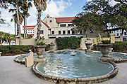 Government House in St. Augustine, Florida. The building was the capitol of Spanish Florida and faces the Plaza de la Constitucion.