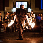 The art of controlling fire and pyrotechnics at the April First Friday in the Crossroads District, Kansas City, MO.