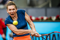 May 13, 2017 - Madrid, Madrid, Spain - SIMONA HALEP (ROU) returns the ball to Kristina Mladenovic (FRA) in the final of the 'Mutua Madrid Open' 2017. Halep won 7:5, 6:7, 6:2 (Credit Image: © Matthias Oesterle via ZUMA Wire)