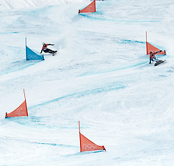 24.02.2018, Phoenix Snow Park, Bokwang, KOR, PyeongChang 2018, Snowboard, Damen, Parallel Riesenslalom, im Bild Ramona Theresia Hofmeister (GER, 2. Platz), Ester Ledecka (CZE, 1. Platz) // silver medalist Ramona Theresia Hofmeister of Germany gold medalist and Olympic champion Ester Ledecka of Czech Republic during the ladie's Snowboard Parallel Riesenslalom of the Pyeongchang 2018 Winter Olympic Games at the Phoenix Snow Park in Bokwang, South Korea on 2018/02/24. EXPA Pictures © 2018, PhotoCredit: EXPA/ Johann Groder