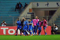 October 22, 2017 - Rades, Tunisia - Supersport united FC players celebrating victory during the Semi-final return of the CAF Cup between Club Africain (CA) and Supersport United FC of South Africa at the stadium of Rades  in Tunis..Club Africain lost (1-3) against the South African Super Sport Utd who will face TP Mazembe in the final. (Credit Image: © Chokri Mahjoub via ZUMA Wire)