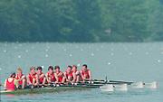 Lucerne, Switzerland. 1995 FISA WC III, Lake Rotsee, Lucerne,<br /> GBR M8+Pete BRIDGE, Ben HUNT-DAVIS, Richard HAMILTON, Alex STOREY, Jim WALKER,<br /> [Mandatory Credit. Peter SPURRIER/Intersport Images]<br /> <br /> Image scanned from Colour Negative