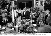 Saul Steinberg celebrating his birthday in Quogue. August 1989. Film 89558f23<br />© Copyright Photograph by Dafydd Jones<br />66 Stockwell Park Rd. London SW9 0DA<br />Tel 0171 733 0108
