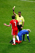 Joe Allen (WAL) received a yellow card after hurted Antoine Griezmann (FRA) during the 2017 Friendly Game football match between France and Wales on November 10, 2017 at Stade de France in Saint-Denis, France - Photo Stephane Allaman / ProSportsImages / DPPI