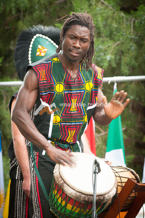 African dancers during outdoor festival in Hyde Park, Boise, Idaho.
