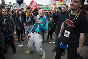 Peoples Assembly Against Austerity demonstration against cuts for health, homes, jobs and education onSaturday April 16th in London, United Kingdom. Tens of thousands of people gathered to protest in a march through the capital protesting against the Conservative Party cuts. Almost 150Councillors fromacross the countryhave signed a letter criticising the Government for funding cuts and and will be joining those marching in London. The letter followed the recent budget in which the Government laid out plans to cut support for disabled people while offering tax breaks for big business and the wealthy.