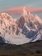 Cerro Torre at sunrize from the rio de Las Vueltas canyon in Patagonia.