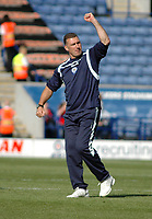 Photo: Tony Oudot/Richard Lane Photography. Leicester City v Barnsley. Coca Cola Championship. 22/08/2009. <br /> Leicester City manager Nigel Pearson shows his delight to the fans at the final whistle after Leicester Citys 1-0 victory