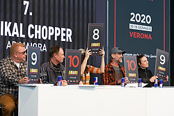 Radikal Choppers' gets top winning points from the celebrity judging panel including (L>R) Bagger Nation's Paul Yaffe, the Buffalo Chip's Rod Woody Woodruff, Brittney Olsen of Carl's Cycle and Andreas Bergerforth and Kim Lara Bergerforth of Thunderbike Germany at Motor Bike Expo (MBE) bike show. Verona, Italy. Friday, January 17, 2020. Photography ©2020 Michael Lichter.