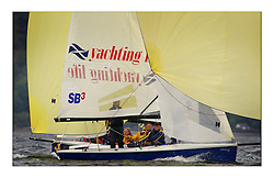 Yachting- The first days inshore racing  of the Bell Lawrie Scottish series 2003 at Tarbert.  Light shifty winds dominated the racing...Sandy McPhail in his SB3 Laser Scottish Office...Pics Marc Turner / PFM