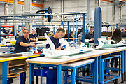 Koning Willem Alexander en Koningin Maxima brengen een streekbezoek aan Zuidwest‐Drenthe. // King Willem Alexander and Queen Maxima pay a regional visit to Southwest Drenthe.<br /> <br /> op de foto: Bezoek aan GKN Fokker is één van de grootste werkgevers in de streek. Het bedrijf ontwikkelt<br /> vliegtuigonderdelen van composiet voor onder andere het gevechtsvliegtuig de F‐35. /// Visit to GKN Fokker is one of the largest employers in the region. The company is developing<br /> composite aircraft parts for, among others, the F ‐ 35 fighter plane.