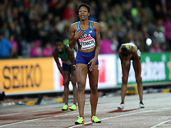 USA's Phyllis Francis wins Gold in the Women's 400m Final during day six of the 2017 IAAF World Championships at the London Stadium. PRESS ASSOCIATION Photo. Picture date: Wednesday August 9, 2017. See PA story ATHLETICS World. Photo credit should read: Yui Mok/PA Wire. RESTRICTIONS: Editorial use only. No transmission of sound or moving images and no video simulation