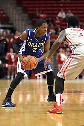 07 January 2015:   C.J. Rivers looks for a way around Daishon Knight during an NCAA MVC (Missouri Valley Conference) men's basketball game between the Drake Bulldogs and the Illinois State Redbirds at Redbird Arena in Normal Illinois.  Illinois State comes out victorious 81-45.
