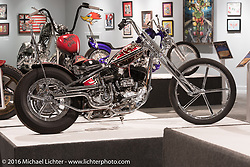 Dalton Walker's Split Image Kustoms' custom 1937 Harley Davidson 74ci U Flathead in Michael Lichter's Skin & Bones tattoo inspired Motorcycles as Art show at the Buffalo Chip Gallery during the annual Sturgis Black Hills Motorcycle Rally. SD, USA. August 10, 2016. Photography ©2016 Michael Lichter.