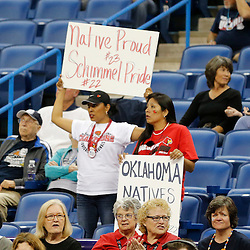 Apr 9, 2013; New Orleans, LA, USA; Louisville Cardinals fans hold up signs for guard Jude Schimmel (not pictured) and guard Shoni Schimmel (not pictured) before the championship game in the 2013 NCAA womens Final Four against the Connecticut Huskies at the New Orleans Arena. Mandatory Credit: Derick E. Hingle-USA TODAY Sports