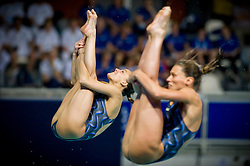 20.05.2012, Pieter van den Hoogenband Swimming Stadium, Eindhoven, NED, LEN, Turmspring Europameisterschaft 2012, Synchonspringen Damen 3 Meter Springbrett, im Bild Tania Cagnotto and Francesca Dallape' (ITA) // during Women's 3m springboard synchro - final of LEN Diving European Championships at Pieter van den Hoogenband Swimming Stadium, Eindhoven, Netherlands on 2012/05/20. EXPA Pictures © 2012, PhotoCredit: EXPA/ Insidefoto/ Giorgio Perottino..***** ATTENTION - for AUT, SLO, CRO, SRB, SUI and SWE only *****