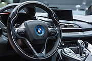 New York, NY, USA-23 March 2016. The steering wheel of a BMW i8, the luxury marque's plug-in hybrid.