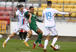 Republic of Ireland's Tyreik Wright (centre) battles for the ball with Luxembourg's Kevin D'Anzico (left) and Edin Osmanovic during the UEFA Under-21 Championship Qualifying Round Group F match at the Tallaght Stadium, Dublin. Picture date: Friday October 8, 2021.