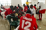 The Lone Star collect themselves in the locker room under the stadium before the match.