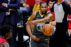 May 6, 2018 - New Orleans, LA, U.S. - NEW ORLEANS, LA - MAY 06:  Golden State Warriors forward Kevin Durant (35) passes the ball against New Orleans Pelicans guard Jrue Holiday (11) during game 4 of the NBA Western Conference Semifinals at Smoothie King Center in New Orleans, LA on May 06, 2018.  (Photo by Stephen Lew/Icon Sportswire) (Credit Image: © Stephen Lew/Icon SMI via ZUMA Press)