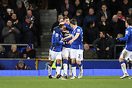 Ross Barkley of Everton © celebrates with his teammates after scoring his teams 2nd goal. Barclays Premier League match, Everton v Newcastle United at Goodison Park in Liverpool on Wednesday 3rd February 2016.<br /> pic by Chris Stading, Andrew Orchard sports photography.