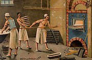 French baker.  The baker is using a long handled wooden paddle to put an item in the oven and an assistant is bringing him a further supply of bread to be baked.  On the left a trough of dough is being kneaded.  A stack of wood for heating the oven is stacked to the left of the oven.  French trade card issued c1880. Chromolithograph.