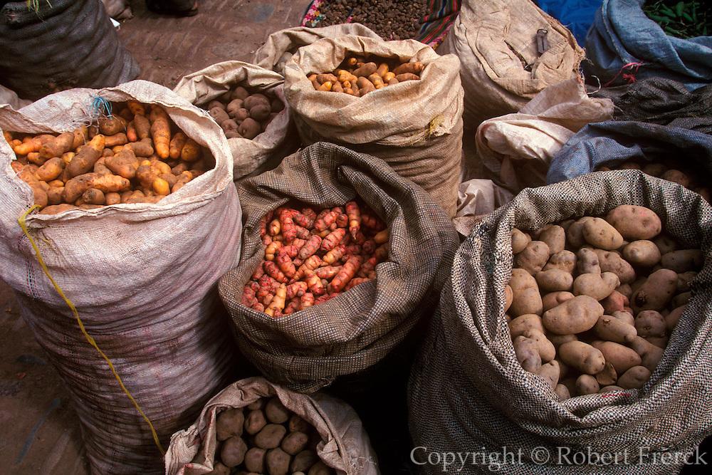 PERU, HIGHLANDS, MARKETS Pisac; famous rural market; potatoes