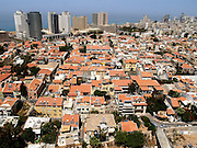 Israel, Tel Aviv, Aerial view of Neve Tzedek established 1887 and was the first Jewish settlement outside of Jaffa. In 1909 Neve Tzedek neighbourhood was incorporated into Tel Aviv April 2008