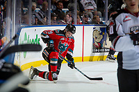 KELOWNA, CANADA - NOVEMBER 10: Dillon Dube #19 of the Kelowna Rockets kneels on the ice after a check into the boards against the Vancouver Giants on November 10, 2017 at Prospera Place in Kelowna, British Columbia, Canada.  (Photo by Marissa Baecker/Shoot the Breeze)  *** Local Caption ***