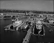 "Ackroyd_19456-10. ""Port of Portland. aerials. September 2, 1975"" ""Swan Island drydock. also for NWMI on Longlines."" (Northwest Marine Iron Works)"