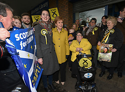 SNP leader and First Minister Nicola Sturgeon campaigns with local candidate Catriona MacDonald and activists in Gilmerton in Edinburgh South one of the SNP's target seats.<br /> <br /> © Dave Johnston / EEm