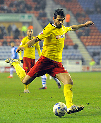 Watford's Gianni Munari in action - Photo mandatory by-line: Richard Martin-Roberts/JMP - Mobile: 07966 386802 - 17/03/2014 - SPORT - Football - Wigan - DW Stadium - Wigan Athletic  v Watford - Sky Bet Championship
