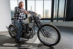 Tom Mathys with his garage built custom 1950 Harley-Davidson Panhead after the Swiss-Moto Customizing and Tuning Show. Zurich, Switzerland. Sunday, February 24, 2019. Photography ©2019 Michael Lichter.