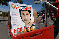 Goalkeeper Petr Cech of Arsenal is pictured on the front cover of the official Arsenal magazine. Barclays Premier League, Arsenal v West Ham Utd at the Emirates Stadium in London on Sunday 9th August 2015.<br /> pic by John Patrick Fletcher, Andrew Orchard sports photography.