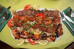 The mushakal kebab platter with nan bread. Tam Cowan at Pomegranate, 1 Antigua Street, Edinburgh.