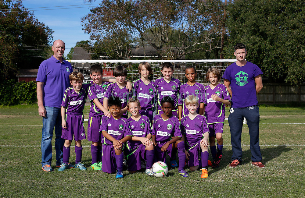 05 December 2015. Missouri City, Texas. <br /> Eclipse Soccer Club, 8th Annual Academy Cup - Toby Lazor Classic.<br /> New Orleans Jesters Youth Academy U10 Purple team photo. <br /> Photo©; Charlie Varley/varleypix.com