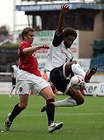 Photo: Paul Thomas.<br /> Preston North End v Manchester United. Pre Season Friendly. 29/07/2006.<br /> <br /> Ole Gunnar Solskjaer of Man Utd (L) gets tackled byYoul Mawene.