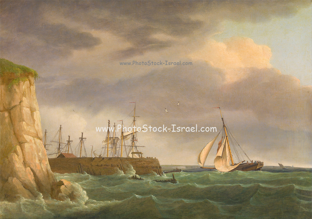 A Ship Running into Harbour with Other Crafts at a Jetty By Thomas Whitcombe (possibly 19 May 1763 – c. 1824) was a prominent British maritime painter of the Napoleonic Wars. Among his work are over 150 actions of the Royal Navy, and he exhibited at the Royal Academy, the British Institution and the Royal Society of British Artists. His pictures are highly sought after today.