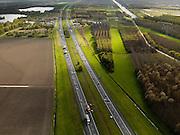 Nederland, Zuidelijk Flevoland, 16-04-2012; file op de A6, voertuigen worden geborgen..Traffic jam on motorway A6, salvage of vehicules..luchtfoto (toeslag), aerial photo (additional fee required).foto/photo Siebe Swart