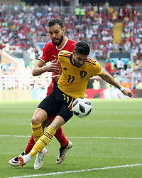 June 23, 2018 - Moscow, RUSSIA - Tunesia's Hamdi Naguez and Belgium's Yannick Carrasco fight for the ball during the second game of Belgian national soccer team the Red Devils against Tunisia national team in the Spartak stadium, in Moscow, Russia, Saturday 23 June 2018. Belgium won its first group phase game. BELGA PHOTO BRUNO FAHY (Credit Image: © Bruno Fahy/Belga via ZUMA Press)