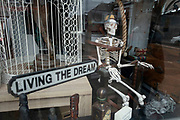 Junk and antiques shop in Kings Heath not exactly living the dream as it was about to close due to Coronavirus on 29th March 2020 in Birmingham, United Kingdom. A human skeleton takes pride of place in th shop window sitting in an electric chair.